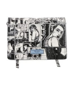 Prada Black/White Comic Print Etiquette Shoulder Bag