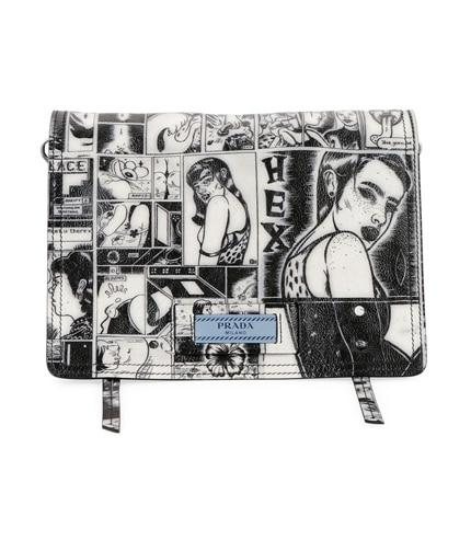 Prada Comic-Print Etiquette Shoulder Bag mVCKPB