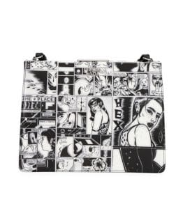 Prada Black/White Comic Print Frame Shoulder Bag