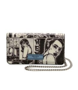 Prada Black/White Comic Print Wallet On Chain Bag