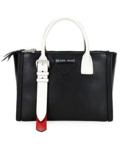 Prada Black/White Concept Top Handle Bag