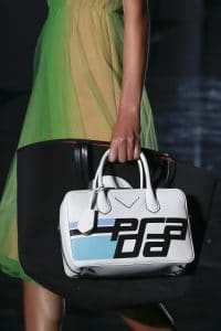 Prada Black/White Printed Tote and Top Handle Bags - Fall 2018