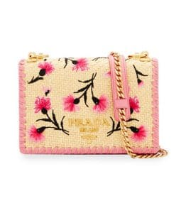Prada Light Beige Floral Embroidered Basket Small Crossbody Bag