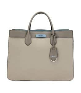 Prada Light Gray City Calf Etiquette Large Carryall Bag