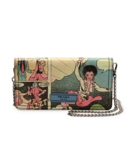 Prada Multicolor Vintage Comic Print Wallet On Chain Bag