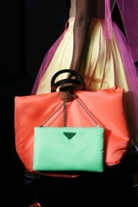Prada Neon Orange/Green Tote and Shoulder Bags - Fall 2018