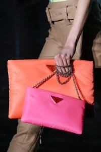 Prada Neon Orange/Pink Clutch and Shoulder Bags - Fall 2018