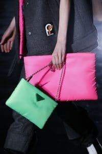 Prada Pink/Green Nylon Clutch and Shoulder Bags - Fall 2018