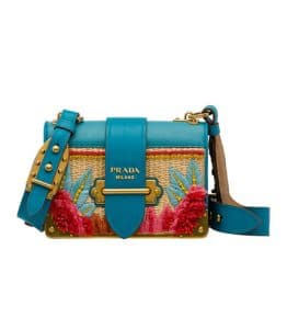 Prada Turquoise/Natural Embroidered Raffia Cahier Crossbody Bag