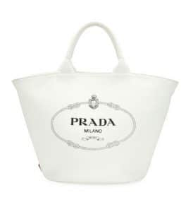 Prada White Canvas Small Tote Bag
