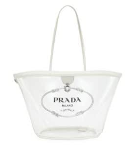 Prada White Transparent Plex Small Shopper Bag