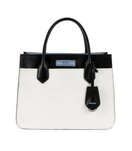 Prada White/Black City Calf Etiquette Small Carryall Bag
