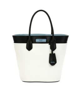 Prada White/Black City Calf Etiquette Tote Bag
