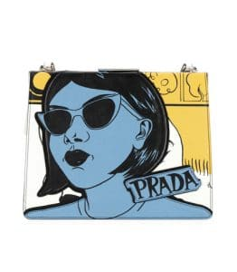 Prada White/Gray Woman Print Frame Shoulder Bag