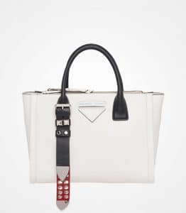 Prada White/Red Studded Concept Top Handle Bag