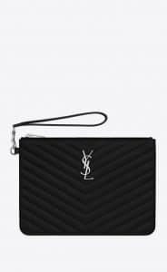 Saint Laurent Black Quilted Monogramme Pouch Bag