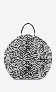 Saint Laurent Black/White Tiger Print Mica Hatbox Bag