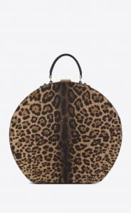 Saint Laurent Brown/Black Leopard Print Mica Hatbox Bag