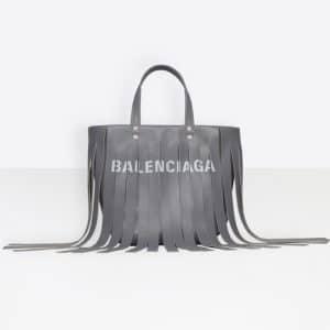 Balenciaga Pearl Grey Tasseled Laundry Cabas XS Bag