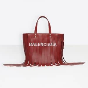 Balenciaga Red Tasseled Laundry Cabas XS Bag