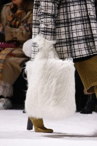 Balenciaga White Fur Tote Bag - Fall 2018