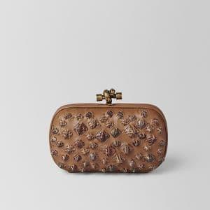 Bottega Veneta Camel Komodo Struzzo Knot Bag