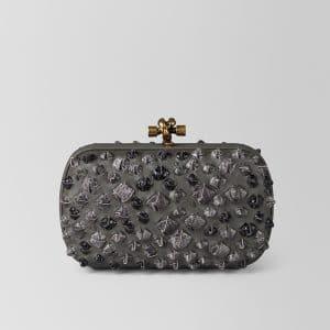 Bottega Veneta Grey Komodo Struzzo Chain Knot Bag