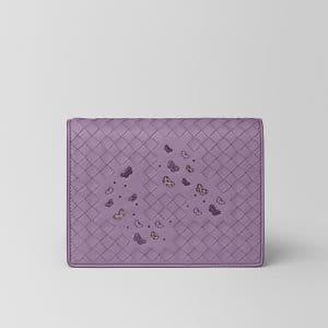 Bottega Veneta Lilac Intrecciato Nappa Ayers Chain Wallet Bag