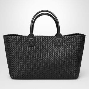 Bottega Veneta Nero Lambskin Medium Cabat Bag