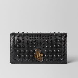 Bottega Veneta Nero Nappa Sphere Knot Clutch Bag