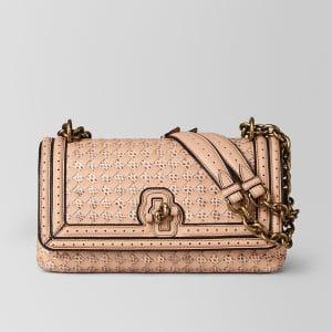 Bottega Veneta Peach Rose Intrecciato Checker Olimpia Knot Bag