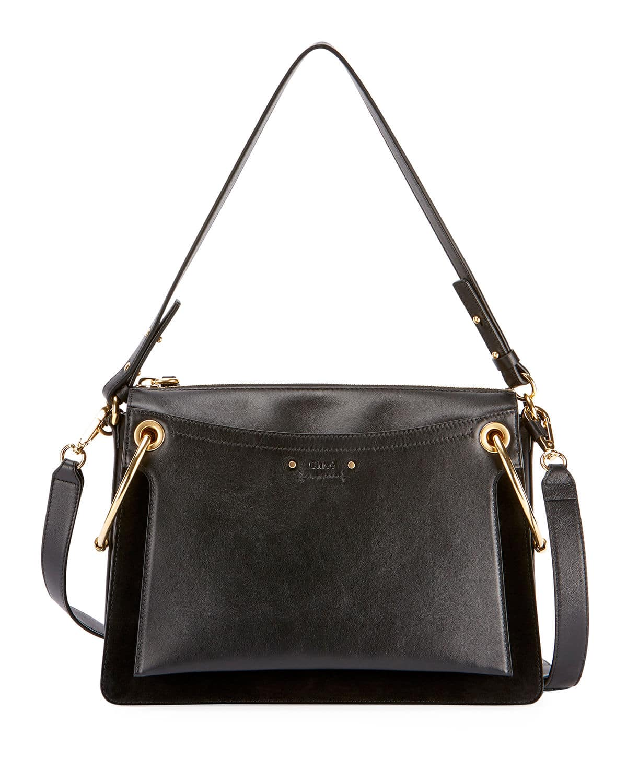 9b98774f8646 Chloe Black Leather Suede Medium Roy Bag