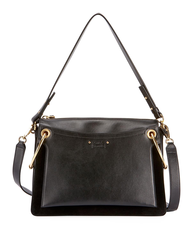Chloe Black Leather Suede Medium Roy Bag