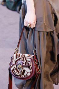Chloe Burgundy Abstract Saddle Bag - Fall 2018
