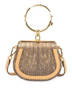 Chloe Gold Sequin-Print Mirrored Nile Small Bracelet Bag
