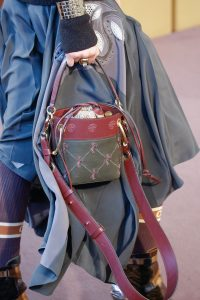 Chloe Gray/Burgundy Horse Embroidered Bucket Bag - Fall 2018