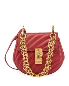 Chloe Red Quilted Mini Drew Bijou Bag