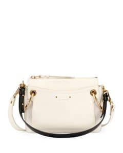 Chloe White Leather/Suede Small Roy Bag