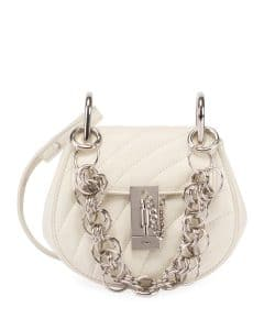 Chloe White Quilted Mini Drew Bijou Bag