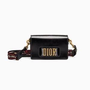 Dior Black Crinkled Calfskin Dio(r)evolution Flap Bag