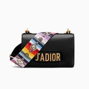 Dior Black J'adior Flap Bag with Multicolored Embroidered Strap