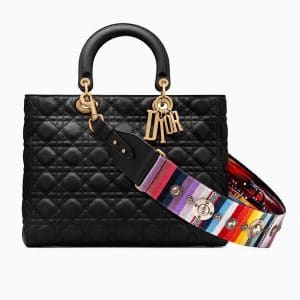 Dior Black Lady Dior Bag with Multicolor Embroidered Strap