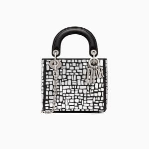 Dior Black Mosaic Embroidered Mini Lady Dior Bag with Chain
