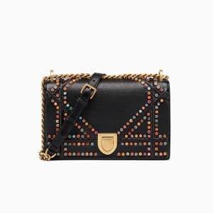 Dior Black Multi-coloured Murrines Studded Diorama Bag