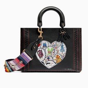 Dior Black Niki de Saint Phalle - Bonn Marquetry Large Lady Dior Bag