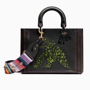 Dior Black Tu es mon dragon Marquetry Large Lady Dior Bag