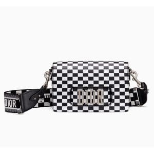 Dior Black/White Checkered Print Dio(r)evolution Flap Bag with Embroidered Canvas Strap