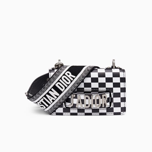 eb84f960bc5c Dior Black White Checkered Print Mini J adior Flap Bag with Embroidered  Canvas Strap