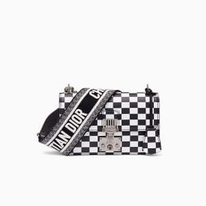 Dior Black/White Checkered Print Small Dioraddict Flap Bag with Christian Dior Strap
