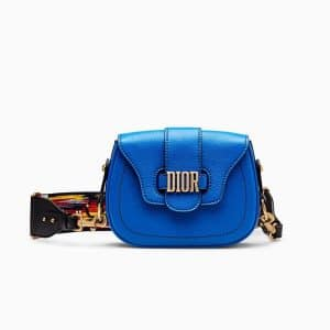 Dior Blue D-Fence Saddle Bag with Multicolored Embroidered Strap